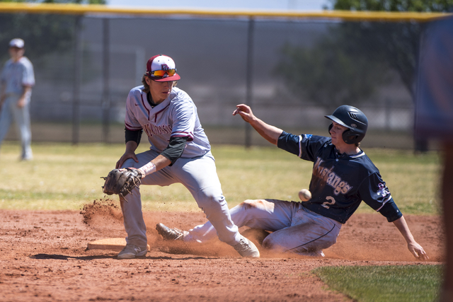 Shadow Ridge infielder Nick Erickson slides into second base as Desert Oasis shortstop Bryson Scott prepares to catches the ball at Shadow Ridge High School in Las Vegas on Saturday, April 2, 2016 ...