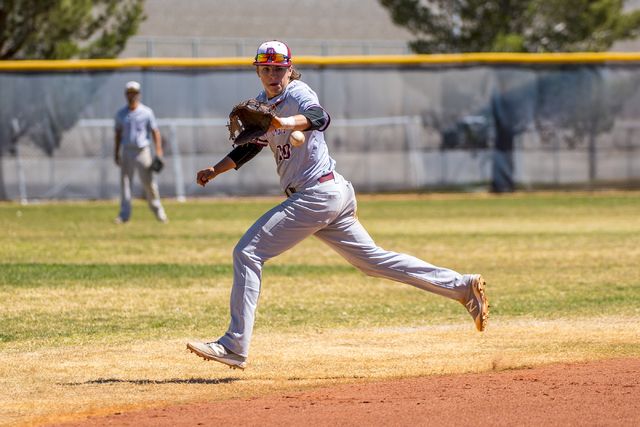 Desert Oasis shortstop Bryson Scott chases down a ball against Shadow Ridge at Shadow Ridge High School in Las Vegas on Saturday, April 2, 2016. Desert Oasis won the game, 5-4. Joshua Dahl/Las Veg ...