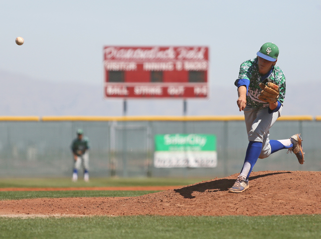 Green Valley's Spencer Cofer pithces during a baseball game against Desert Oasis at Desert Oasis Saturday, April 11, 2015, in Las Vegas. Desert Oasis won 10-1. (Ronda Churchill/Las Vegas Review-Jo ...