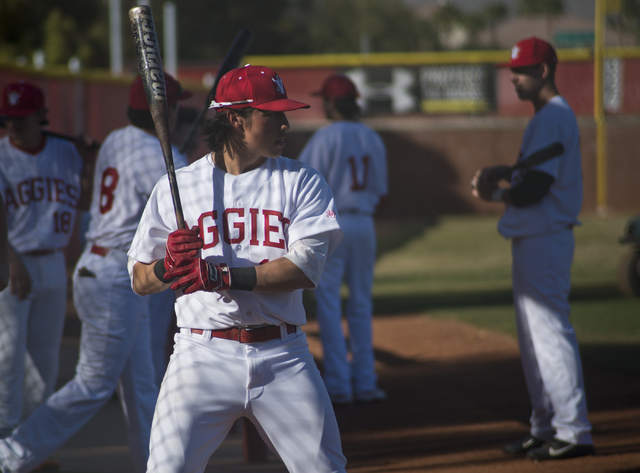 Arbor View's Nick Quintana (12) warms up during their game against Faith Lutheran at Arbor View High School in North Las Vegas on Thursday, March 10, 2016. Faith Lutheran won the game 6-3. Daniel  ...