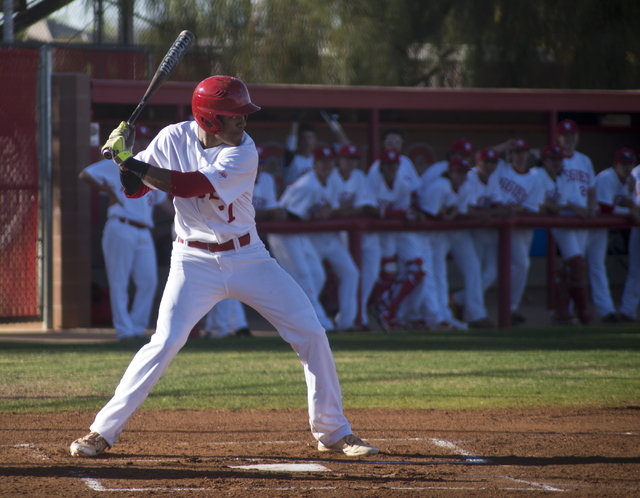 Arbor View's Trevor Jackson (7) prepares to swing during their game against Faith Lutheran at Arbor View High School in North Las Vegas on Thursday, March 10, 2016. Faith Lutheran won the game 6-3 ...