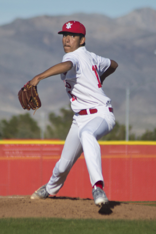 Arbor View pitcher Chris Villarias (15) throws the ball during their game against Faith Lutheran at Arbor View High School in North Las Vegas on Thursday, March 10, 2016. Faith Lutheran won the ga ...