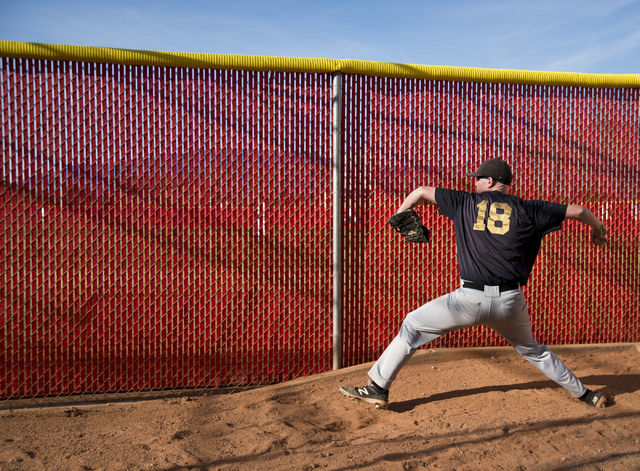 Faith Lutheran pitcher Josh Brown (18) warms up during their game at Arbor View High School in North Las Vegas on Thursday, March 10, 2016. Faith Lutheran won the game 6-3. Daniel Clark/Las Vegas  ...