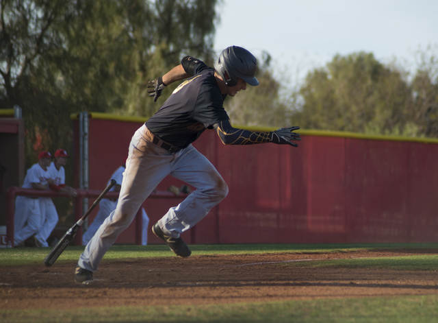 Faith Lutheran's Brandon Davis (8) makes a run for first base during their game at Arbor View High School in North Las Vegas on Thursday, March 10, 2016. Faith Lutheran won the game 6-3. Daniel Cl ...