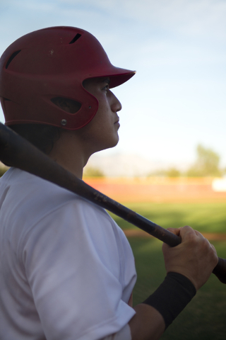 Arbor View's Nick Quintana (12) waits for his turn at bat during their game against Faith Lutheran at Arbor View High School in North Las Vegas on Thursday, March 10, 2016. Faith Lutheran won the  ...