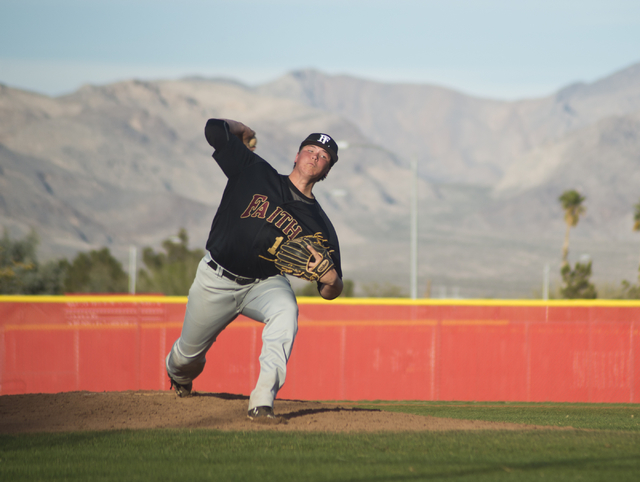 Faith Lutheran pitcher Zach Trageton (11) throws the ball during their game at Arbor View High School in North Las Vegas on Thursday, March 10, 2016. Faith Lutheran won the game 6-3. Daniel Clark/ ...