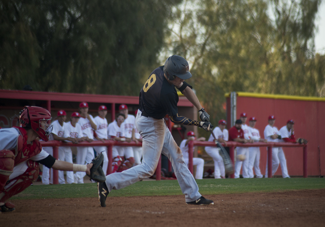 Faith Lutheran's Brandon Davis (8) hits the ball during their game at Arbor View High School in North Las Vegas on Thursday, March 10, 2016. Faith Lutheran won the game 6-3. Daniel Clark/Las Vegas ...
