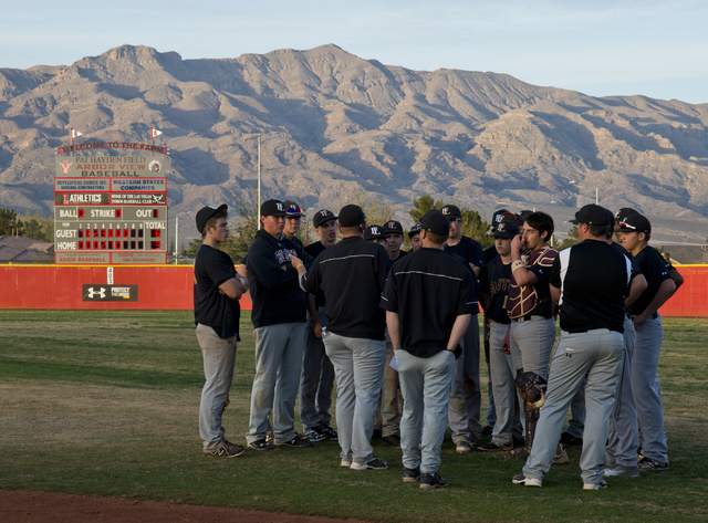 The Faith Lutheran High School baseball team meets after their win at Arbor View High School in North Las Vegas on Thursday, March 10, 2016. Faith Lutheran won the game 6-3. Daniel Clark/Las Vegas ...