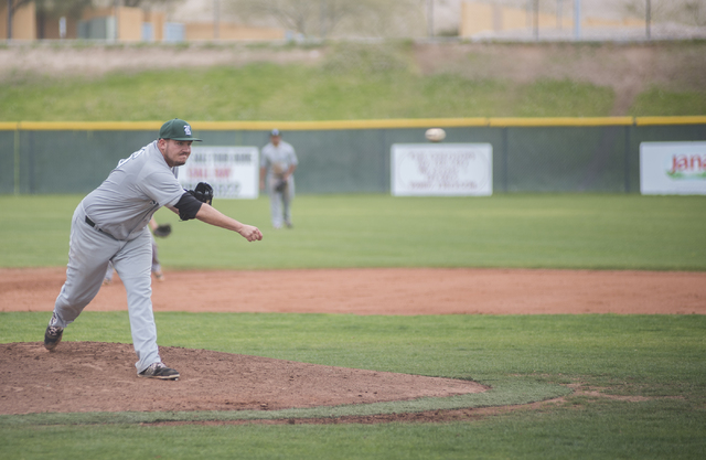 Rancho High School's Andrew Weiger (36) pitches against Las Vegas High School during their baseball game played at the Las Vegas High School on Wednesday March 11, 2015. Las Vegas won, 8-3. (Marti ...
