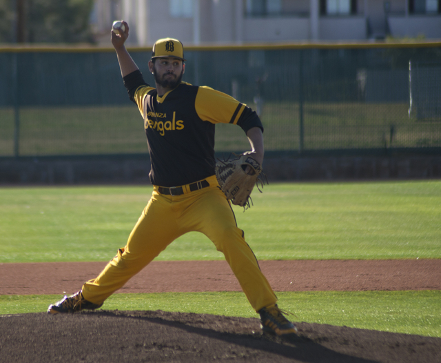 Bonanza pitcher Danny Ruiz (13) throws the ball during their game against Silverado at Bonanza High School in Las Vegas on Friday, March 11, 2016. Bonanza won the game 8-0. Daniel Clark/Las Vegas  ...