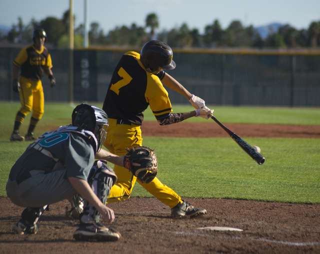 Bonanza's Torren Brozovich (7) hits the ball during their game against Silverado at Bonanza High School in Las Vegas on Friday, March 11, 2016. Bonanza won the game 8-0. Daniel Clark/Las Vegas Rev ...
