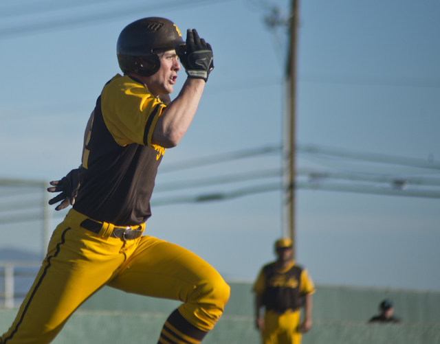 Bonanza's Chris Dunn (22) makes a run for first base during their game against Silverado at Bonanza High School in Las Vegas on Friday, March 11, 2016. Bonanza won the game 8-0. Daniel Clark/Las V ...