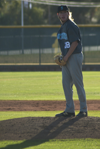 Silverado pitcher Kevin Pindel (28) prepares to pitch during their game at Bonanza High School in Las Vegas on Friday, March 11, 2016. Bonanza won the game 8-0. Daniel Clark/Las Vegas Review-Journ ...