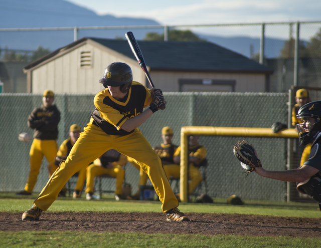 Bonanza's Levi Klump (16) swings at the ball during their game against Silverado at Bonanza High School in Las Vegas on Friday, March 11, 2016. Bonanza won the game 8-0. Daniel Clark/Las Vegas Rev ...