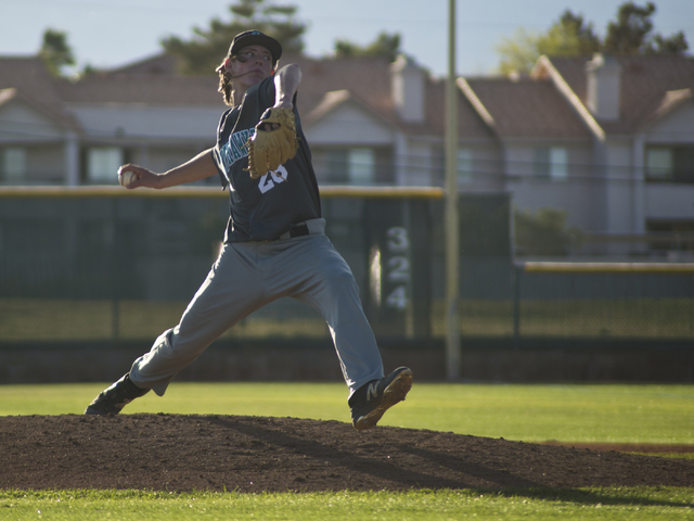 Silverado pitcher Kevin Pindel (28) throws the ball during their game at Bonanza High School in Las Vegas on Friday, March 11, 2016. Bonanza won the game 8-0. Daniel Clark/Las Vegas Review-Journal ...
