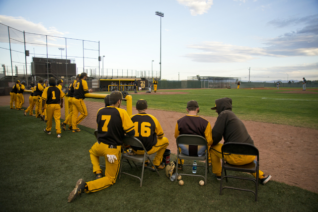 The Bonanza High School baseball team watches during their game against Silverado at Bonanza High School in Las Vegas on Friday, March 11, 2016. Bonanza won the game 8-0. Daniel Clark/Las Vegas Re ...