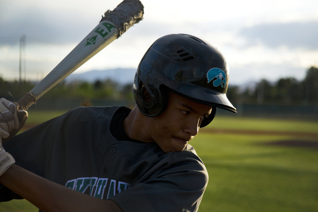 Silverado's Chandler Whitehead (1) warms up during their game at Bonanza High School in Las Vegas on Friday, March 11, 2016. Bonanza won the game 8-0. Daniel Clark/Las Vegas Review-Journal Follow  ...