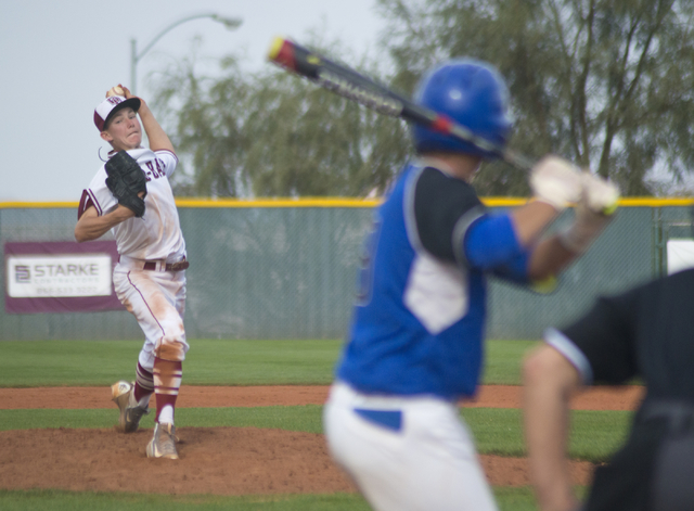 Desert Oasis pitcher Jason Sharman (15) throws the ball during the championship game of the Lions Kick Off Tournament against Basic at Desert Oasis High School in Las Vegas on Saturday, March 12,  ...