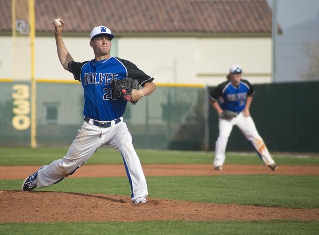Basic pitcher Trent Bixby (26) throws the ball during the championship game of the Lions Kick Off Tournament against Desert Oasis at Desert Oasis High School in Las Vegas on Saturday, March 12, 20 ...