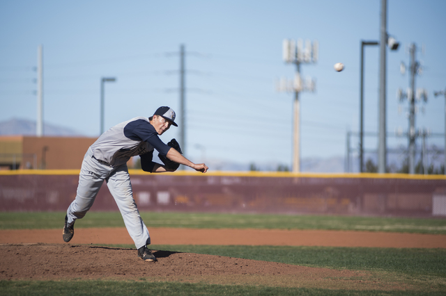 Spring Valley's Bryce Bullock (4) pitches against Faith Lutheran high school during their baseball game played at the Faith Luthern baseball field in Las Vegas on Wednesday Mar. 25, 2015. (Martin  ...