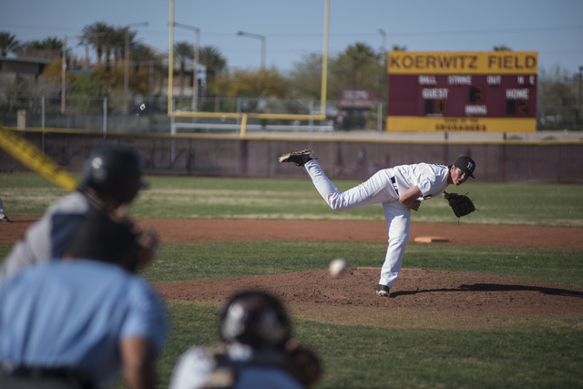 Faith Lutheran's Zach Trageton (11) pitches against Spring Valley high school during their baseball game played at the Faith Luthern baseball field in Las Vegas on Wednesday Mar. 25, 2015. (Martin ...