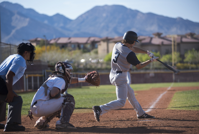 Spring Valley's Carter Lambeth (3) swings for a strike against Faith Lutheran high school during their baseball game played at the Faith Luthern baseball field in Las Vegas on Wednesday Mar. 25, 2 ...