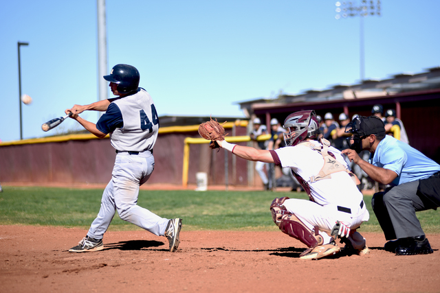 Spring Valley's Nick Rupp (4) swings for contact against Faith Lutheran high school during their baseball game played at the Faith Luthern baseball field in Las Vegas on Wednesday Mar. 25, 2015. ( ...
