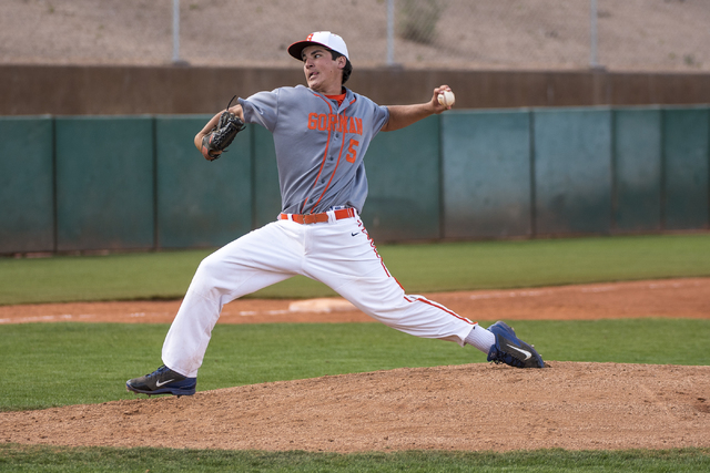 Bishop Gorman pitcher Brian Coffey (5) pitches to O'Gorman High School (S.D.) at Bishop Gorman High School in Las Vegas on Wednesday, March 30, 2016. Joshua Dahl/Las Vegas Review-Journal
