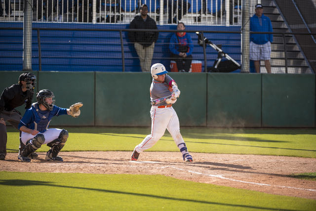Bishop Gorman catcher Jordan Sadovia swings at a pitch from O'Gorman at Bishop Gorman High School in Las Vegas on Wednesday, March 30, 2016. Joshua Dahl/Las Vegas Review-Journal