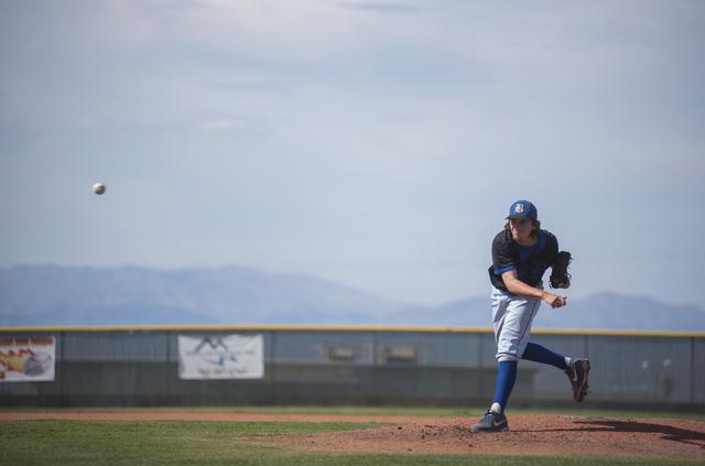 Basic's Josh McLean (57) pitches against Coronado during their baseball game at Coronado High School in Henderson on Thursday, April 30, 2015. (Martin S. Fuentes/Las Vegas Review-Journal)