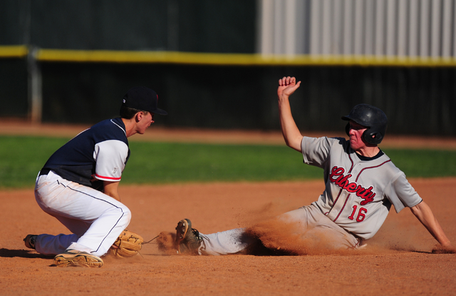Liberty base runner Justin Lutes steals second base while Coronado shortstop Kyle Hall fields the throw in the seventh inning of their prep baseball game at Coronado High School in Henderson Monda ...