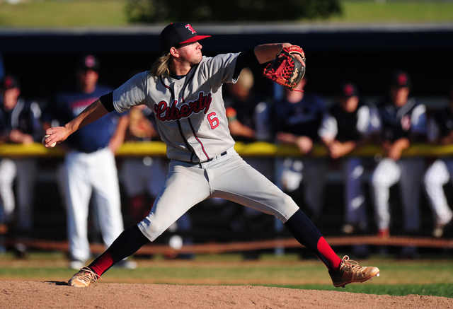 Liberty relief pitcher Zack Reed delivers to Coronado in the seventh inning of their prep baseball game at Coronado High School in Henderson Monday, April 18, 2016. Liberty defeated Coronado 8-5.  ...