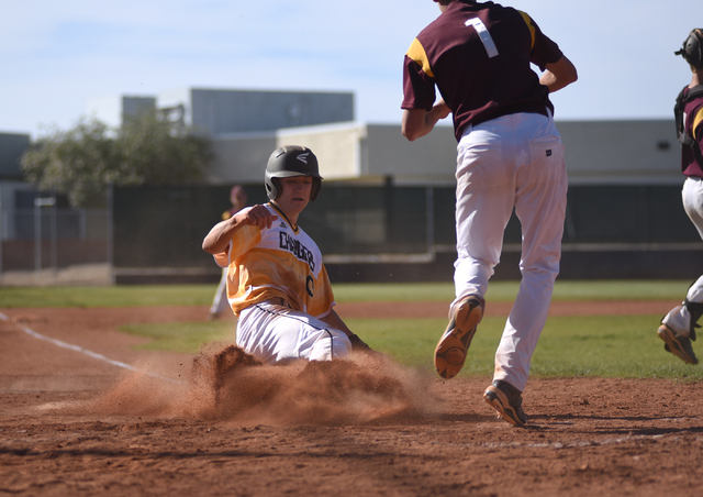 Clark's Stefan McLin scores a run against Pahrump Valley during their baseball game played at Clark's baseball field in Las Vegas on Wednesday, April 20, 2016. Clark defeated Pahrump Valley 7-3. ( ...