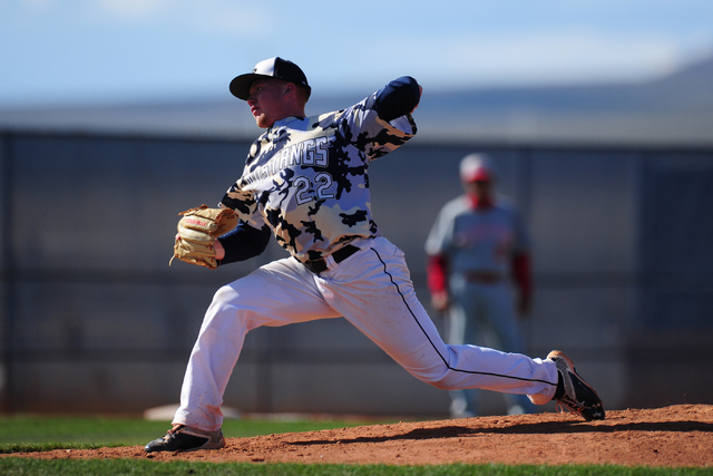 Shadow Ridge starting pitcher Jake Wilson delivers to Arbor View in the third inning of their prep baseball game at Shadow Ridge High School in Las Vegas Monday, May 2, 2016. Shadow Ridge defeated ...