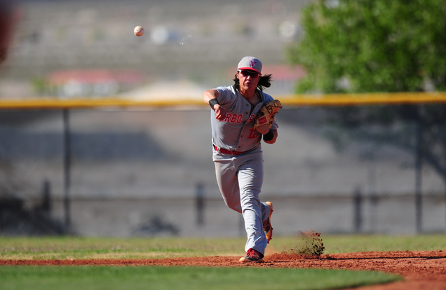 Arbor View shortstop Nick Quintana throws out a Shadow Ridge base runner at first base in the fourth inning of their prep baseball game at Shadow Ridge High School in Las Vegas Monday, May 2, 2016 ...