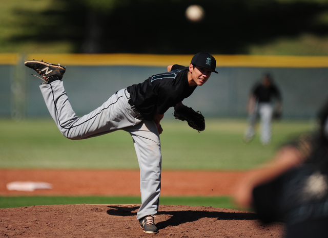 Rancho starting pitcher Layton Walls delivers to Las Vegas in the first inning of their prep baseball game at Las Vegas High School Tuesday, May 3, 2016. Rancho defeated Las Vegas 11-9. Josh Holmb ...