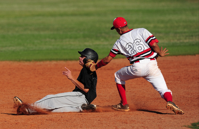 Las Vegas second baseman Hector Perez tags out Rancho baserunner Joey Walls after Walls tried to steal second base in the sixth inning of their prep baseball game at Las Vegas High School Tuesday, ...