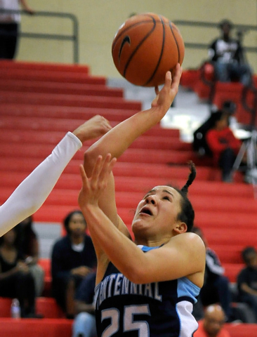 Centennial's Karina Brandon shoots against Arbor View on Monday. Brandon had 10 points and nine rebounds in a 74-40 Centennial win. (David Becker/Las Vegas Review-Journal)