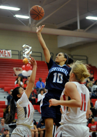Centennial's Jayden Eggleston (10) shoots against Arbor View on Monday. Eggleston had 15 rebounds to help the Bulldogs to a 74-40 win. (David Becker/Las Vegas Review-Journal)