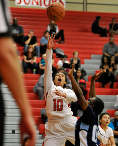 Arbor View's Tiffani Smith shoots against Centennial on Monday. Centennial won 74-40 to clinch the Northwest League title. (David Becker/Las Vegas Review-Journal)