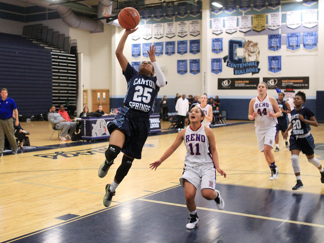 Canyon Springs guard D'Licya Feaster gets past Reno guard Daranda Hinkey for a basket during their Las Vegas Holiday Classic tournament game Saturday. (Sam Morris/Las Vegas Review-Journal)