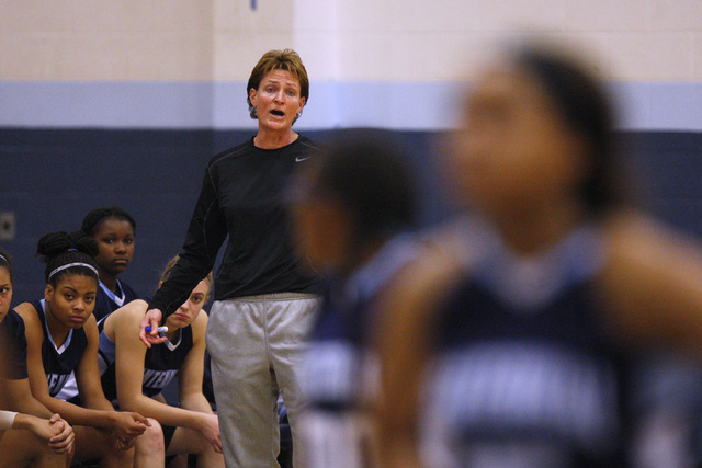 Centennial coach Karen Weitz talks to her players during the championship game of the Las Vegas Holidcay Classic against Liberty on Tuesday. Centennial won the game 71-66. (Sam Morris/Las Vegas Re ...