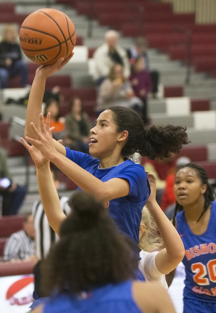 Bishop Gorman's Shaira Young (2) drives to the basket during the Gaels road matchup with the Desert Oasis Diamondbacks on Tuesday, Jan. 10, 2017, at Desert Oasis High School, in Las Vegas. Benjami ...
