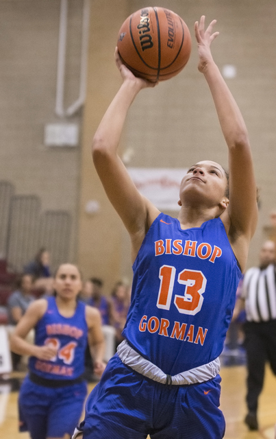 Bishop Gorman's Georgia Ohiaeri (13) converts a fast break layup during the Gaels road matchup with the Desert Oasis Diamondbacks on Tuesday, Jan. 10, 2017, at Desert Oasis High School, in Las Veg ...