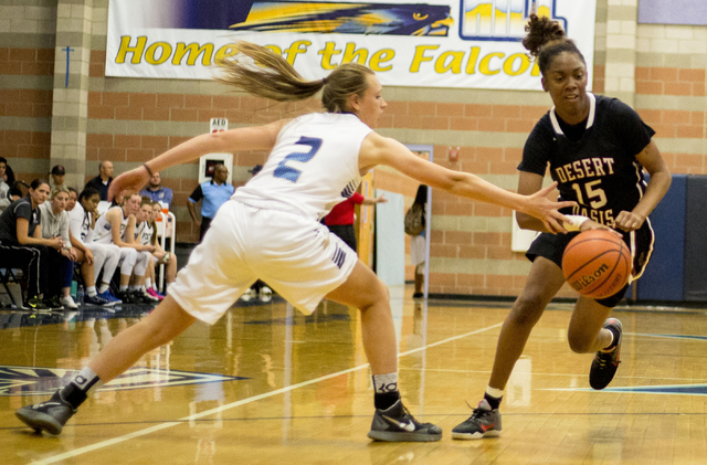 Desert Oasis' Ahmaya Smith, (15), dribbles the ball during a game against Foothill at Foothill High School, Wednesday, Nov. 30, 2016, in Henderson. Elizabeth Page Brumley/Las Vegas Review-Journal  ...