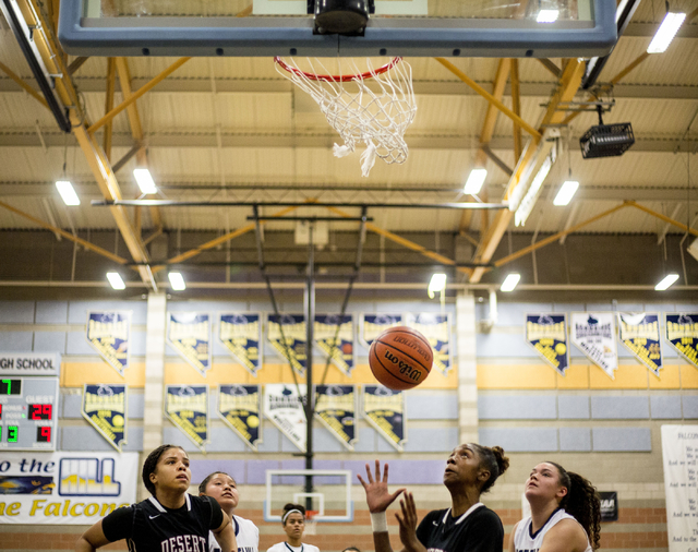 Players from Foothill and Desert Oasis attempt to grab the ball during a game at Foothill High School, Wednesday, Nov. 30, 2016, in Henderson. Elizabeth Page Brumley/Las Vegas Review-Journal Follo ...