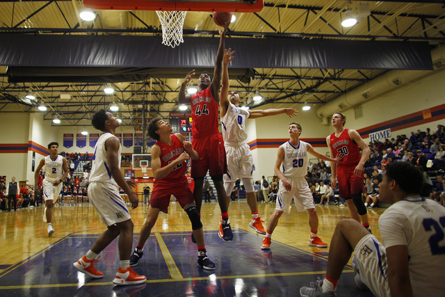 Coronado's forward Taieem Comeaux (44) goes up for a shot against Bishop Gorman during a basketball game at Bishop Gorman High School on Tuesday, Dec. 6, 2016, in Las Vegas. (Rachel Aston/Las Vega ...