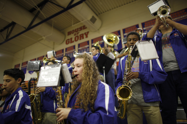 Bishop Gorman's band performs during a basketball game at Bishop Gorman High School on Tuesday, Dec. 6, 2016, in Las Vegas. (Rachel Aston/Las Vegas Review-Journal) @rookie__rae