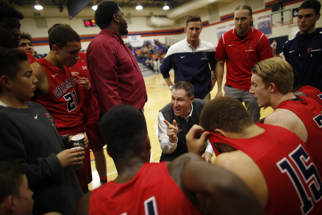 Coronado's coach Jeff Kaufman talks to his team during a timeout at a basketball game against Bishop Gorman at Bishop Gorman High School on Tuesday, Dec. 6, 2016, in Las Vegas. (Rachel Aston/Las V ...