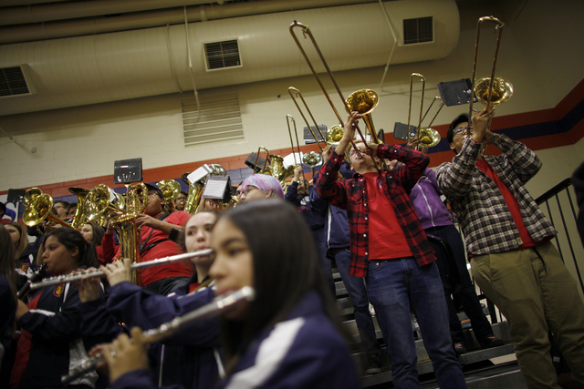 Coronado's band performs during a basketball game at Bishop Gorman High School on Tuesday, Dec. 6, 2016, in Las Vegas. (Rachel Aston/Las Vegas Review-Journal) @rookie__rae